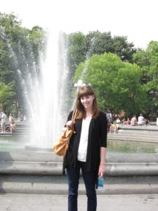 Kelly at fountain